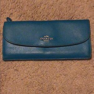 Teal envelope Coach wallet